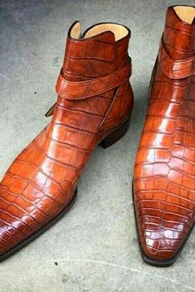 New Handmade Alligator Leather Boot, Men's Jodhpurs Tan Color Leather Fashion Boot