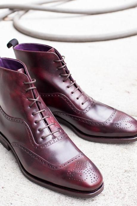 New Handmade Leather Lace Up Fashion Boot, Men's Burgundy Cap Toe Leather Boot