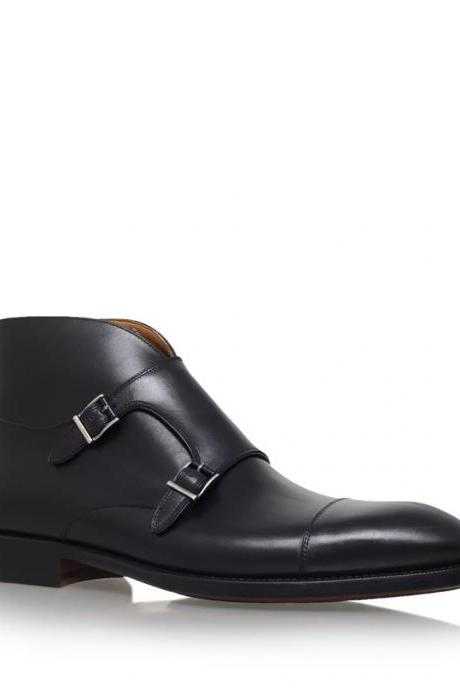 New Handmade men double monk strap chukka boots, Men black ankle leather boot