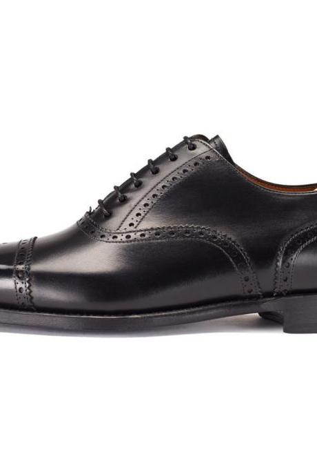 NEW MENS LEATHER SHOES, BLACK HANDMADE LEATHER SHOES, BOOT