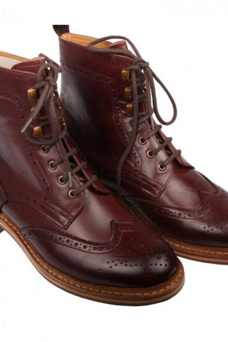 New Handmade Men Good Year Welted Sole Boot, Men Maroon Ankle High Leather Boot, Men lace-up boot
