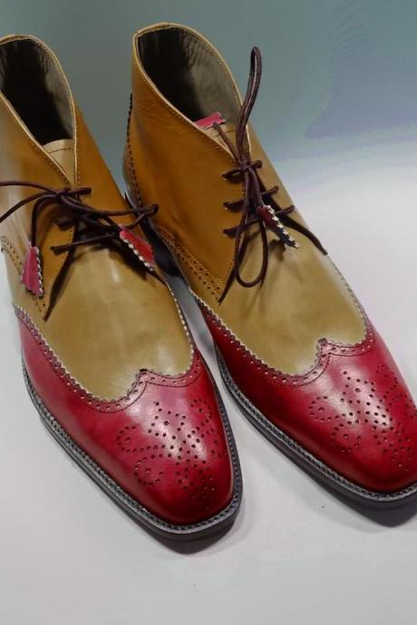 New Handmade Leather Chukka Lace Up Wing Tip Boot, Men's Red Beige Color Leather Boot