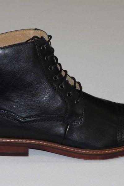 New Handmade men Black Ankle high leather boots, Men's real leather boot