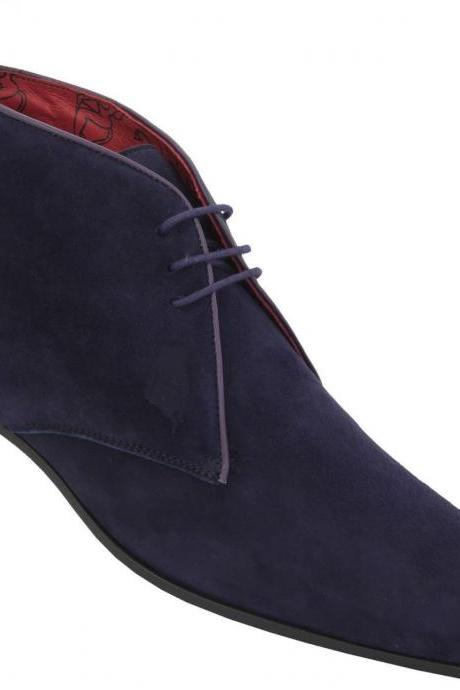 NEW HANDMADE MEN CHELSEA SUEDE LEATHER BOOT,MEN CHELSEA ANKLE-HIGH BLUE SUEDE BOOTS