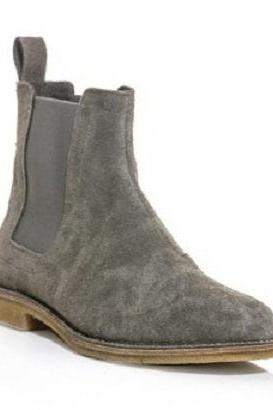 New Handmade Men s Gray Chelsea Suede Leather Boots, Men suede leather boot
