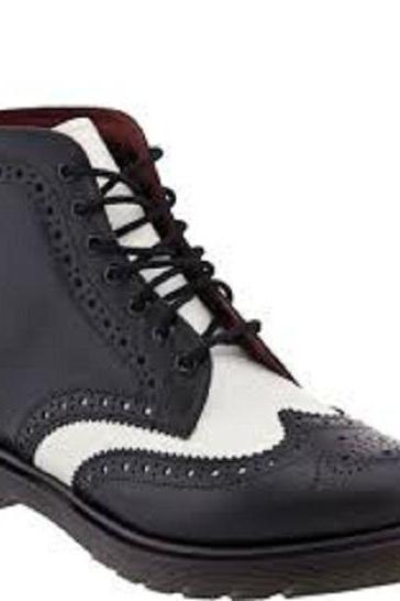 New Stylish Handmade men black and white wingtip ankle boot, Men real leather boots, Mens leather boot