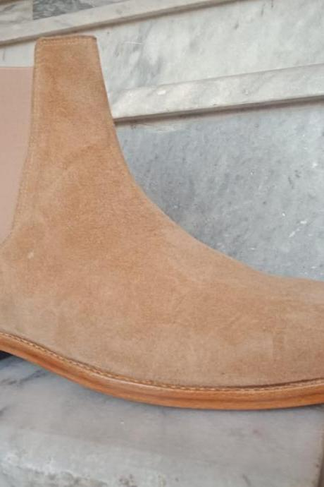Handmade Men's Beige Chelsea Suede Boot, Men Ankle High Fashion Formal Boot