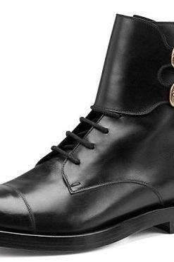 NEW HANDMADE MEN S OXFORDS ANKLE MONK STRAP LACE UP LEATHER BOOTS, MEN LEATHER BOOTS
