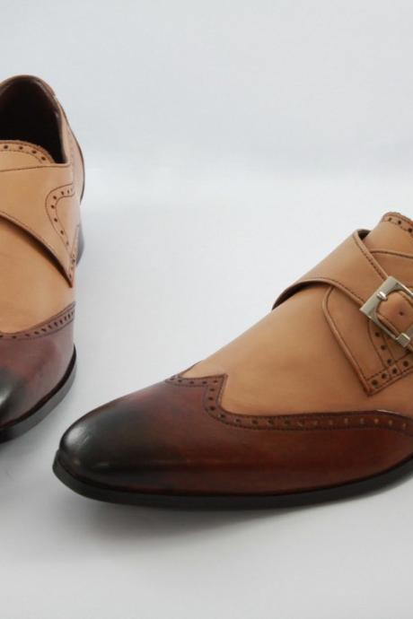 HAND MADE TWO COLOR MONK STYLE SHOES TAN BROWN, DRESS FORMAL SHOES MEN