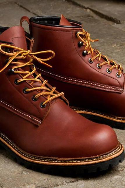 Handmade men genuine leather boots, Men Brown ankle high leather boots